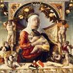 Marco Zoppo (1433 - 1498)   Madonna and child surrounded by eight angels  Canvas, about 1480-1481  89,2 x 72,5  cm  Louvre,Dpt.des Peintures, Paris, France